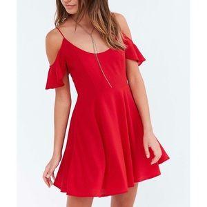 UO Kimchi Blue Cold Shoulder Fit + Flare Dress